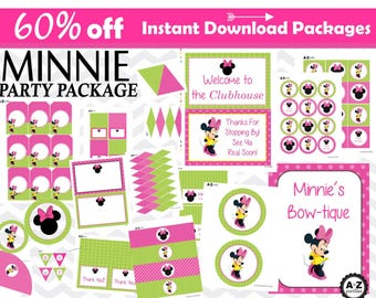 Minnie Mouse Green and Pink Party Package, Instant Download, cupcake toppers, banner, centerpiece, signs, favor tags, water bottle wrappers
