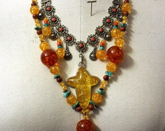 """Pressed Amber Necklace Honey Butterscotch 2 Bib Necklaces Moroccan Necklace Bohemian Necklace Faux Amber Faux Coral Necklace 28""""L"""