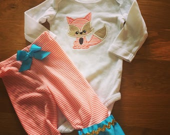 Woodland fox shirt ruffle pants fox shirt, orange teal gold ruffle pants embroidered fox, boho chic toddler girl style