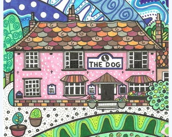 "Grundisburgh Dog Pub, Suffolk 6x6"" greetings card"