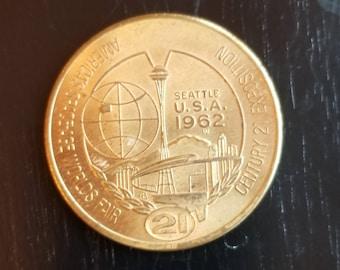 """1962 Seattle World's Fair souvenir """"dollar"""" coin"""