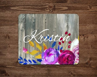 Floral Mouse pad | custom mouse pad | personalized mouse pad | Pink flowers | floral gift | Gift for her | Office gift