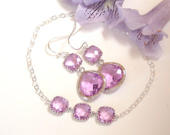 Wedding Jewelry Set, Lavender Earrings and Bracelet, Lilac, Sterling Silver, Bridesmaid Gifts, Bridesmaid Jewelry, Dangle, Bracelet Set