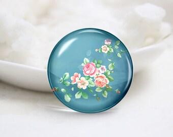 Handmade Round Photo glass Dome-Flower (P2953)