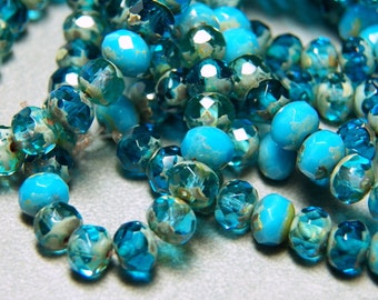 Czech Aqua & Blue Turquoise with Picasso 5x7mm Glass Rondelle Beads (25) 0534-P