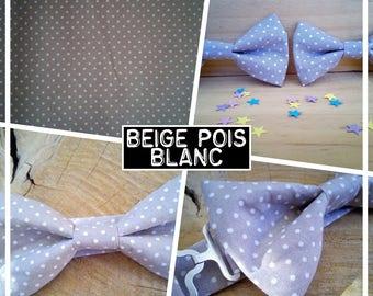 "Bow tie collection ""beige white polka dots"" men/teen/child/baby"
