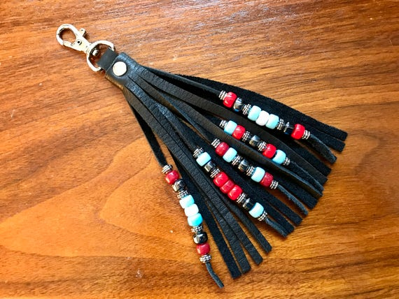Beaded Leather Tassel Swivel Hook - Double Fringed 5 Strand Beadwork - Zipper Pull / Purse Charm / Purse Decoration / Boho Accessory