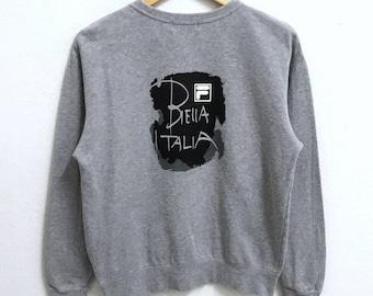 RARE!!! Fila Biella Italia Sweatshirts Big Logo Grey Colour Crew Neck Sweatshirts Jumper Pullover Small Size