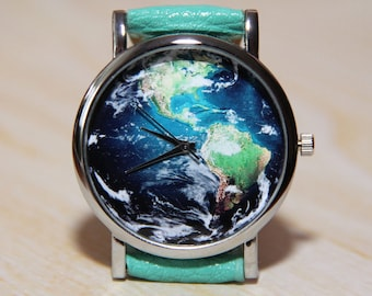 Earth watch etsy wrist watch planet world map watch watch earth unique watches womens watch gumiabroncs Image collections