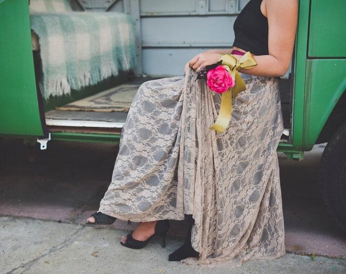 Lace Full Circle High Waist Sash Skirt~ Coralie Beatrix- Custom Choose Fabrics for Bridal Skirt, Bridesmaids, Prom, Formal
