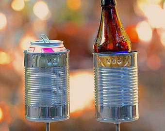 MR & MRS Hobo Tin Can Beer Holders, 10 Year Anniversary Gift for Him, Her, Tin Anniversary Gift, Wedding Gift, Garden Drink Holders