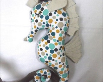 Seahorse, sea horse, cuddly baby, child, sleepy eyes, toy collection, multicolored, cotton, unique, handmade, passionnementseize