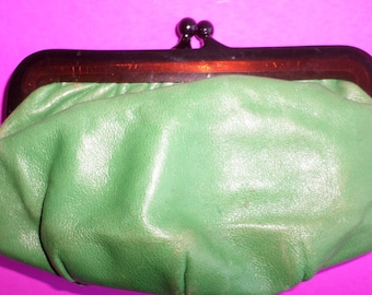 Old Lucite Frame Green Purse Clutch Small Purse Genuine Leather inside and out label shows made in Italy