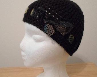 Crochet Hat - Crochet Cap Made with Black Acrylic Yarn