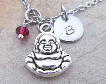 Buddha Charm Necklace, Personalized Hand Stamped Initial Monogram Birthstone Antique Silver Buddha Charm Necklace