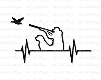 Duck Hunter EKG SVG File dxf / pdf / png/ jpg for Cricut, Cameo, Scan n Cut and other cutting machines
