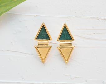 Triangle Stud Earrings, Geometric Earrings, Large Stud Earrings, Green Gold Earrings, Dangle Earrings, Boho Earrings, Women Jewelry