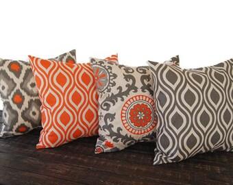 "Throw pillow covers 18"" x 18"" Set Of Four orange gray beige ikat batik cushion cover pillow sham"