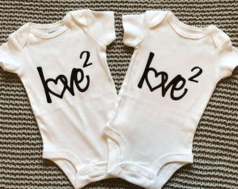 Twin Love Squared Baby Onesies (2 included)