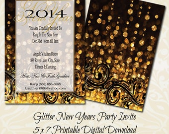 golden glitter new years eve invitation new year invitation new years party invitation with free shipping
