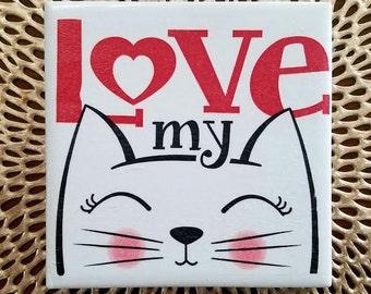 Cat Lover | Pet Lover | Feline Friend | Napkin Coasters | Fun Coasters | Unique Gift | Coffee Table Art | Furry Friend Lover | Handmade