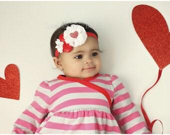 Valentine Headband, Valentine Baby Headband, Infant Headband, Newborn Headband, Baby Headband, , Toddler Headband. Red Chiffon and Satin