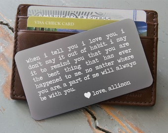 Personalized Wallet Card, Custom Wallet Insert, Silver Wallet Card Option: Valentine's Day for Men, Deployment Gift, Groom's Gift for Him