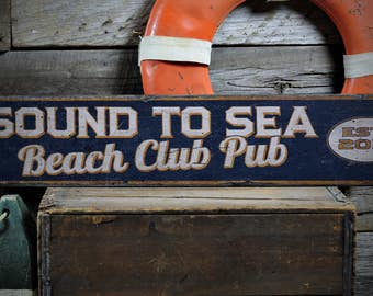 Beach Club Sign, Beach House Name Sign, Beach House Decor, Rustic Beach Sign, Beach Wall Decor, Beach Sign - Rustic Hand Made Wooden Sign