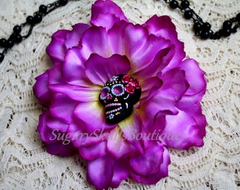 Day of the Dead Wedding, Sugar Skull Accessory, Dia de los Muertos, Hair Clip Flower, Halloween Costume