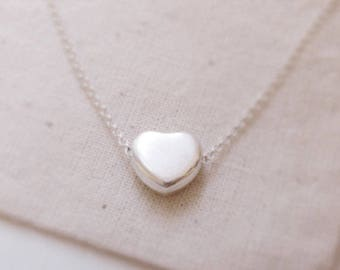 Simple heart (necklace) - Small sterling silver puffed heart
