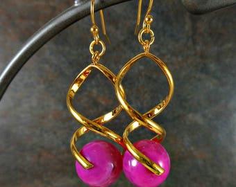 Gold Earrings, Gemstone Earrings, Statement Earrings, Pink, Gold, Dangle Earrings, Stone Earrings, Twist Earrings, Drop Earrings, Bead