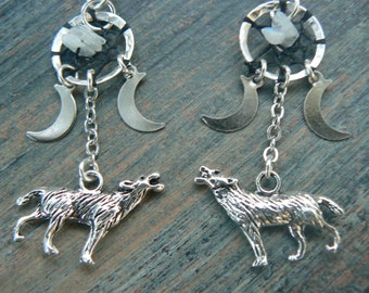 Wolf Earrings howling at the triple moon dreamcatcher moonstone moon goddess pagen tribal, tribal fusion boho new age and hipster style