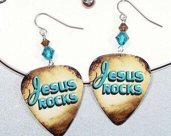 Jesus Rocks Earrings - Bible Scripture Art Guitar Pick Earrings - the Lord is my Rock