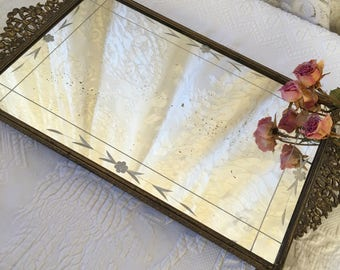 Vintage Gold Mirrored Dresser Tray. Dresser Accessory Mirror. Perfume and Makeup Tray Dressing Table Mirror With Ornate Ends and Etching.