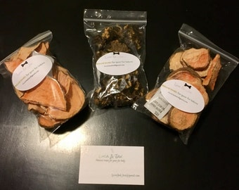 Bundle of doggie treats. 3 packages for one low price. 2packages of organic Sweet  Potato chews and one package of Beef & Cheddar drops