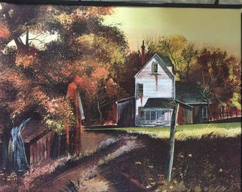 Old Rustic House Print on Canvas 16 x 20 Inches