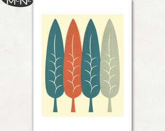 FEATHERS, Modern Mid Century Abstract, Giclee Fine Art Print for the Home Decor
