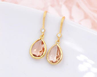 Brial Peach Earrings,Peach Drop earrings,Bold Bridal Earrings,  Earrings,Crystal Peach TearDrop Earrings,Statement Jewelry, Peach Wedding