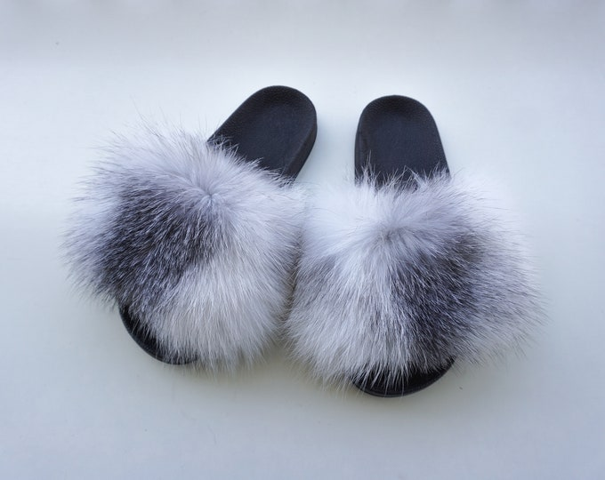 Fashion slides, Blue Frost Fox Slippers F853