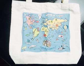 World Map Tote (Lined)