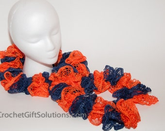 Knit Ruffle Scarf, Orange Blue Ruffle Scarf, Ruffle Scarf, Sashay Ruffle Scarf, Knit Scarf, Handmade Ruffle Scarf, Blue and Orange Scarf
