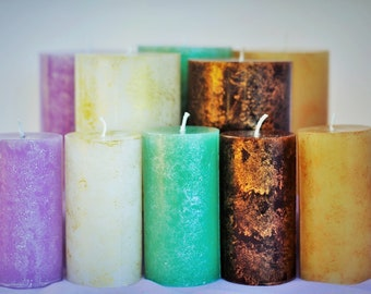 Customizable Handmade Pillar Candle, Pick Your Color, Decoration and Fragarance Oil -Long Lasting