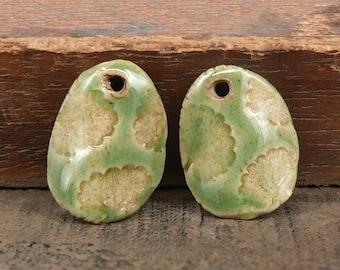 Ceramic Stoneware Pendant Set Green Leaf Rustic Handmade Pottery