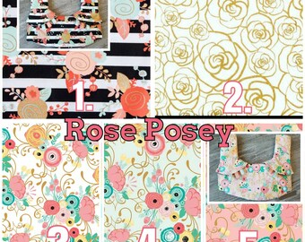 Ergo360 or Lillebaby 3-PC sets.  Headrest Bib/Straight Pads. Curved Pads upgrade available.  ROSEY POSEY choose any 2 fabrics.
