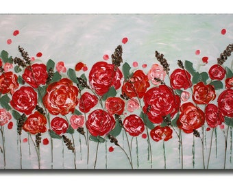 SALE Original Coral Flowers Acrylic   Impasto   Palette Knife  Painting  Roses Painting. Size 48 x 24.