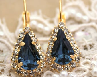 Blue Navy earrings, Blue Navy Swarovski earrings, Dark Blue earrings, Blue dangle earrings, Bridal Swarovski drop earrings, Crystal jewelry