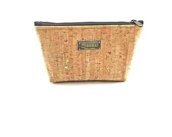 """9"""" x 5"""" - Natural Cork with Gold Metallic Flecks  - Gadget Bag - zipper pouch - Bag organizer"""