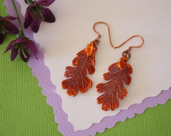 Copper Leaf Earrings, Oak Leaf, Real Leaf Earrings, Copper, Lacey Oak Earrings, Nature, LESM187
