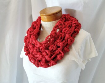 Red super chunky crochet Christmas cowl Womens circle scarf collar Gift for Her Minimalist neck warmer Holiday party fashion accessory
