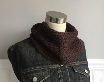 Dark Brown Infinity Scarf / Crochet Scarf / Organic Cotton Scarf / Spring Scarf